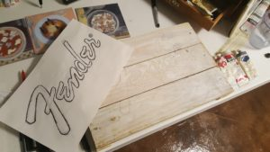 Gesso, tracing logo onto support